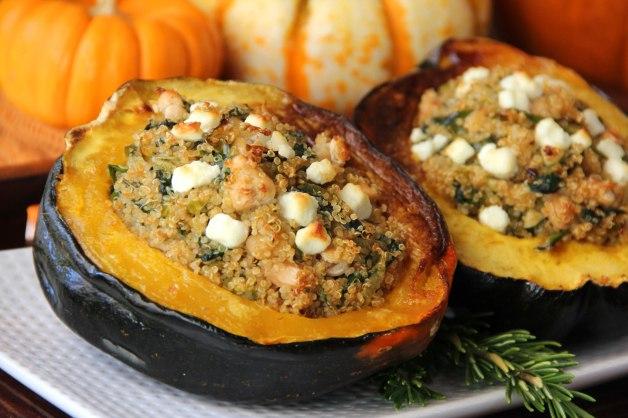 Acorn Squash Stuffed with Spinach & White Bean Quinoa